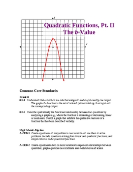 Graphing a Parabola from a Quadratic Function (Part II)