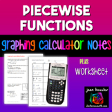 Graphing Piecewise Functions on TI 83 - 84  plus Worksheet