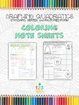 Graphing all Three Forms of Quadratic Functions Coloring Note Sheets