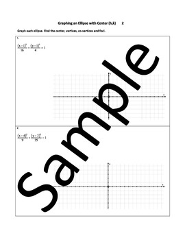 Graphing an Ellipse with Center (h,k) – Worksheets