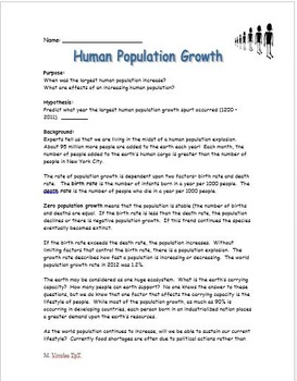 Graphing and Analyzing the Impact of Human Population Growth