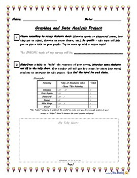 Graphing and Data Analysis Survey Project for Grades 3 to 5 - fillable PDF!