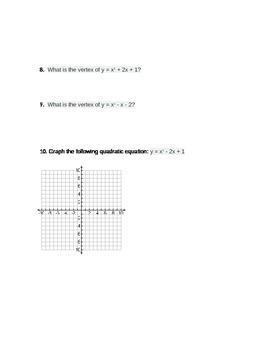 Graphing and Factoring Quadratics Quiz