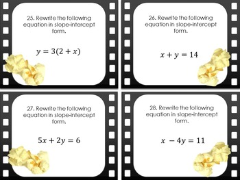 """Graphing and Functions Task Cards - """"At the Movies"""""""