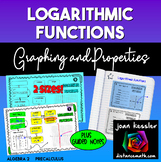Graphs and Properties of Logarithmic Functions Concept Map INB Guided Notes