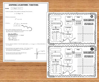 Logarithmic Functions, Graphs, and Properties Organizers and INB Guided Notes