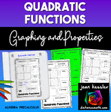 Quadratic Functions Graphs and Properties Organizers and INB Pages