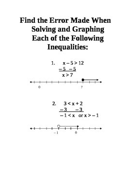 Graphing And Solving One Step Inequalities Station Activity By