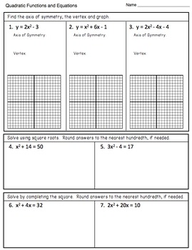 Quadratic Equations (Graphing and Solving) - Assessment