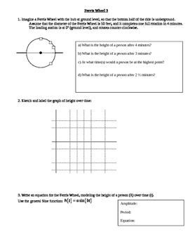 Graphing and writing trigonometry equations of various Ferris Wheels