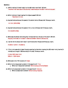 Graphing in Science practice worksheet (speed)