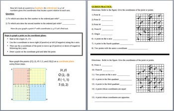 Graphing in the Coordinate Plane (4 Quadrants)