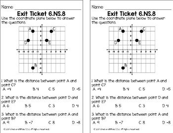 Graphing on a Coordinate Plane Math Tasks and Exit Tickets