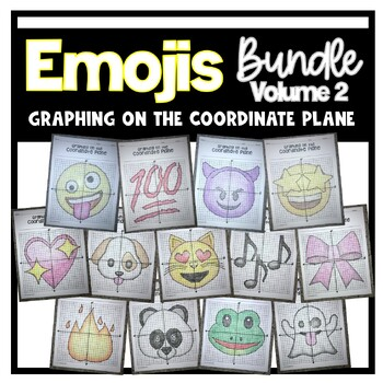 EMOJI Bundle- Volume 2 (Graphing on the Coordinate Plane/ Mystery Pictures)