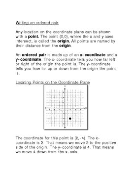 Graphing on the Coordinate Plane Introduction or Review Notes