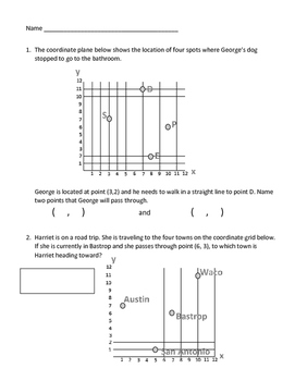 Graphing the Coordinate Plane Sheets 5.8A, 5.8B, 5.8C, 5.G.A.1 & 5.G.A.2