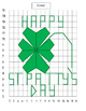 """Graphing ordered pairs on a coordinate grid-shamrock with words """"Patty's Day"""""""