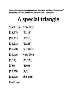 Free Coordinate Plane Graphing Picture - The Impossible Triangle in quadrant one