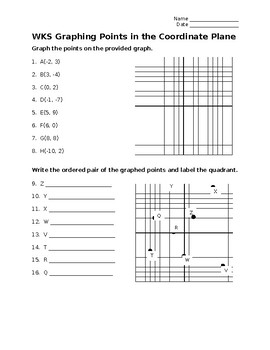 Graphing point in the coordinate plane & write ordered pairs from a graph