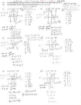 Graphing polynomials organizer x y table intercepts zeros end behavior multiplic