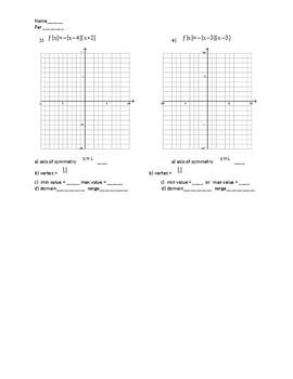 Graphing quadratic equation in factored form quiz