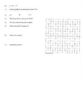 Graphing quadratics standard form review practice a b c up down max min vertex