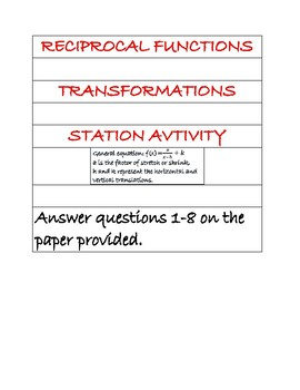 Reciprocal functions (transformations) station activity