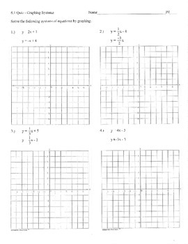 Graphing systems of equations practice quiz big graphs includes x= y= and key
