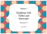 Algebra 1 - Outcome 17 - Graphing with Tables and Intercepts