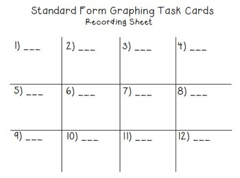 Graphing with Intercepts Task Cards
