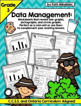 Graphing/Data Management Third Grade Worksheets (bar, circle, pictographs)