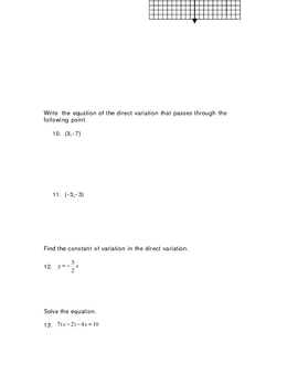 Graphs and Functions Test