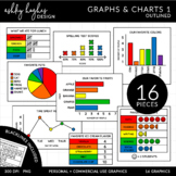 Graphs & Charts 1 Clipart {A Hughes Design}