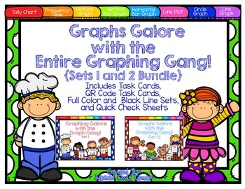 Graphs Task Card and Extra Practice Bundle with QR Codes