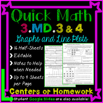 Graphs Homework or Graphs Math Centers for 3rd Grade: 3.MD.3 and 3.MD.4