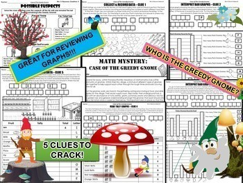 Graphs Review Math Mystery (Collecting and Recording Data, Tally, Bar Graphs)