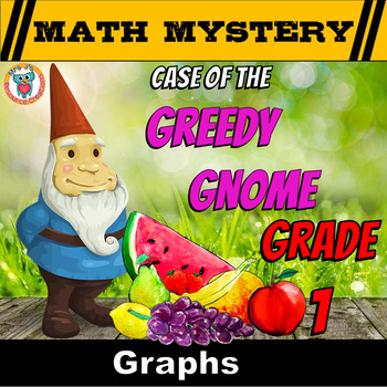 1st Grade Graphs Review Math Mystery (Tabulating  Data, Tally, Bar Graphs)