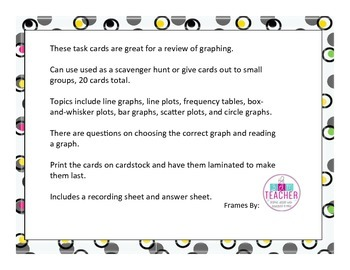 Graphs Task Cards and Scavenger Hunt (Common Core Aligned)