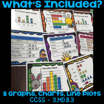 Graphs Task Cards (Tally Charts, Picture/Bar Graphs, Line Plots) Spring Theme