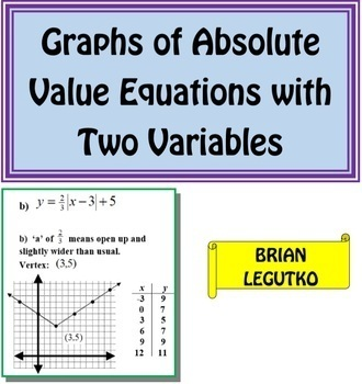 Graphs of Absolute Value Equations with Two Variables (Notes, WS, PopQz w/Keys)