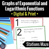 Exponential and Logarithmic Functions Graphs Stations Maze