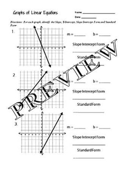 Graphs of Linear Equations Worksheet with key A.CED.1,2,4, A.REI.1 ...