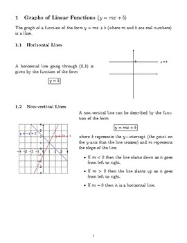 Graphs of Linear Functions (Lines)