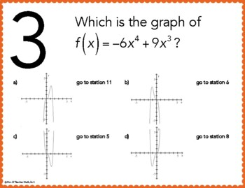 Polynomial and Rational Functions Graphs Stations Maze