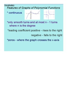 Graphs of Polynomials Functions SmartBoard Lesson