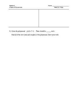 Graphs of Polynomials Homework