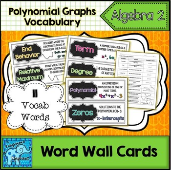 Graphs of Polynomials Vocabulary Word Wall Cards