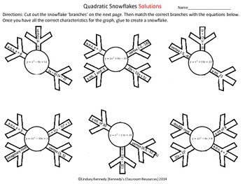 Graphs of Quadratic Functions - Snowflake Cut-Out Activity