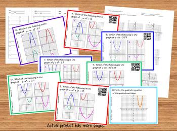 Graphs of Quadratics Task Cards  Plus HW Quiz QR Version 2