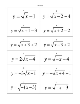 Graphs of Radical Functions Card Sort